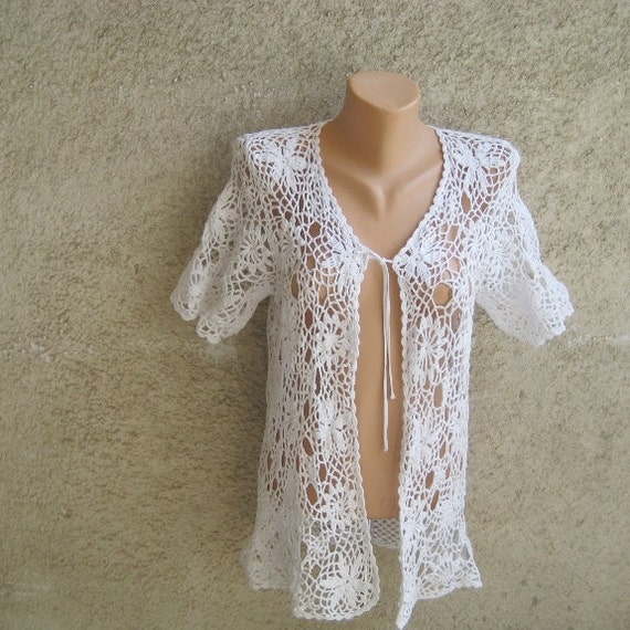 vintage sexy crochet vest tunic cardigan white cotton. Black Bedroom Furniture Sets. Home Design Ideas