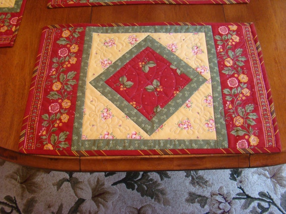 Oversized set of four placemats brick red yellow and green for Oversized placemats