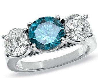 Blue & White Diamond 3.40CT 3 Stone Ring 14K White Gold