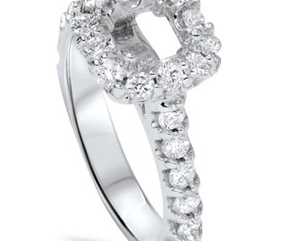 3/4Ct Diamond Princess Cut Engagement Halo Ring Setting Semi Mount 14 Karat White Gold Size 4-9