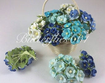 100 Mixed Blue and White  Wedding Roses