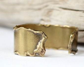 Melted Brass Cuff Smooth Molten Gold Bracelet