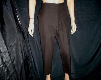 "60s M 34"" x 28"" Narrow Leg Wool Pants Dark Brown"