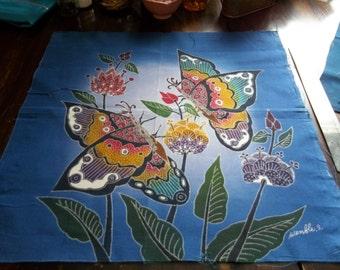 Three Vintage Handmade Batik Pillow Fronts Birds Butterflies on High Thread Count Cotton