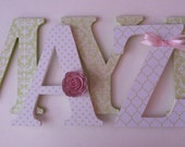Alphabet wooden letters for nursery in lime green  and white,
