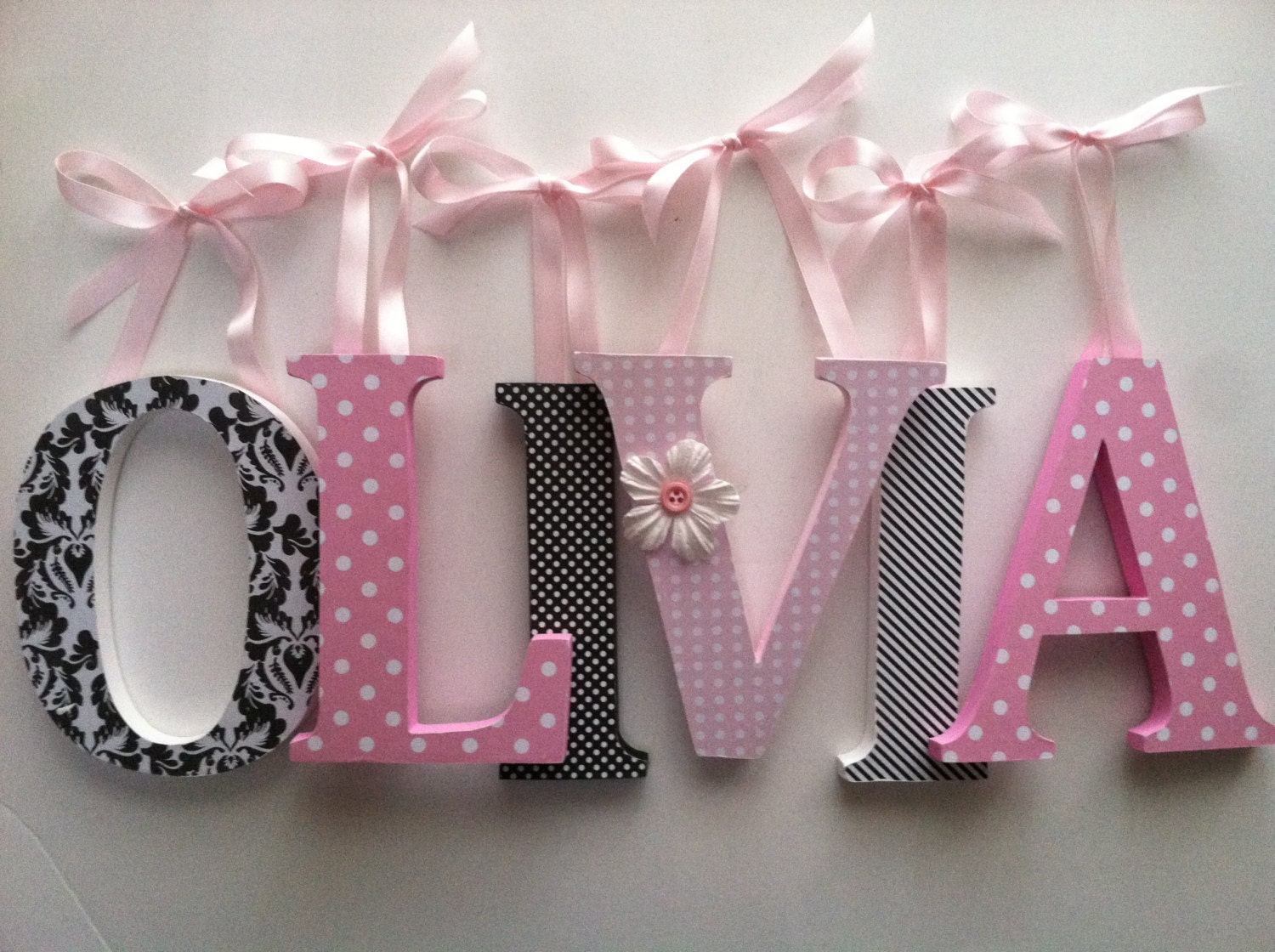 Wooden Letters For Nursery In Pink And Black