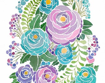 Watercolor Flowers - Purple and Blue - Painting Print