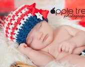 Crochet Pattern for Patriotic Stars & Stripes Olympic Flag Beanie Hat - 6 sizes, baby to adult - Welcome to sell finished items