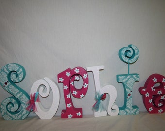 nursery wall letters pink and aqua custom wood letters 6 letter set girl nursery letters nursery decor wooden letters name sign