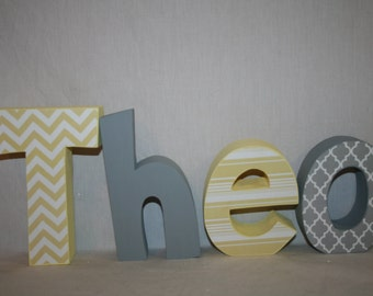 Boy nursery letters, 4 letter set, Gray and yellow decor Wood letters for nursery, Name letters, Custom name letters, Wooden letters