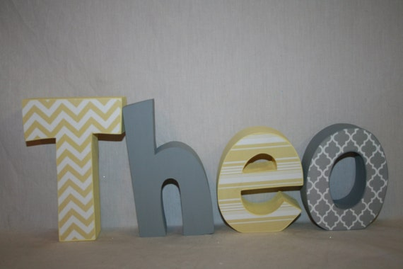 Items Similar To Boy Nursery Letters, 4 Letter Set, Gray