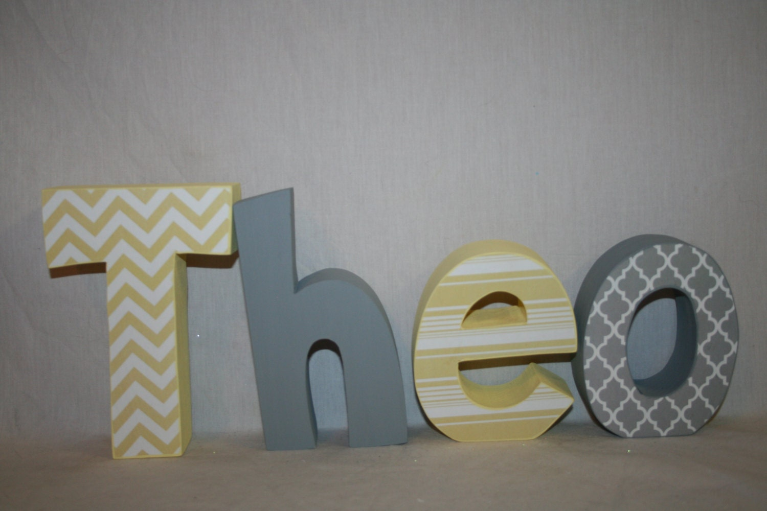Boy Nursery Letters 4 Letter Set Gray And Yellow Decor Wood