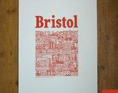 Bristol Harbour Illustrated Screenprint (Burnt Orange)
