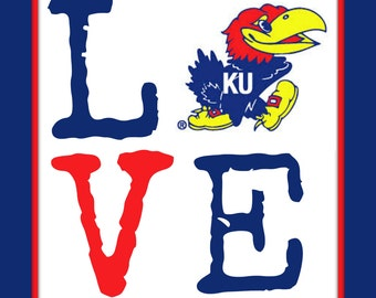 LOVE Jayhawk print. This listing is for an 8 X 10 print. Looks great in a black frame.