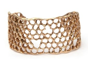 Honeycomb Cuff Bracelet - Golden Brass