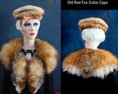 """Early Era Red Red Fox Fur Collar Cape Antique """"as is""""     Delightful color of fur       Satin lining       Furrier closure"""