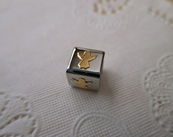 18K and stainless steel bead - cube, silver, gold, angel