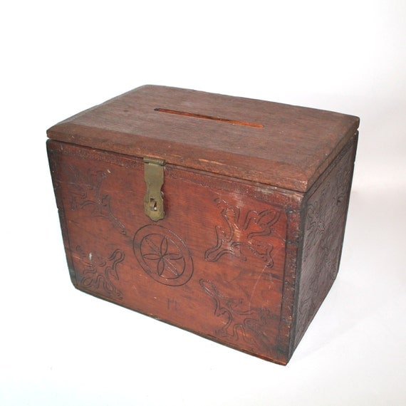 vintage wooden card or letter lock box With letter lock box