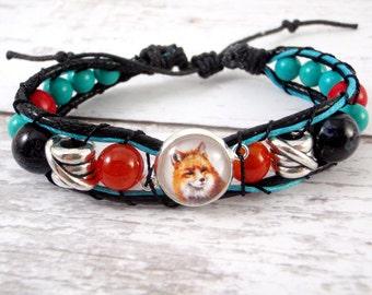Fox Bracelet - Fox Jewelry, Bead Wrap Bracelet , Mix Bead Bracelet, Silver Plated Pendant