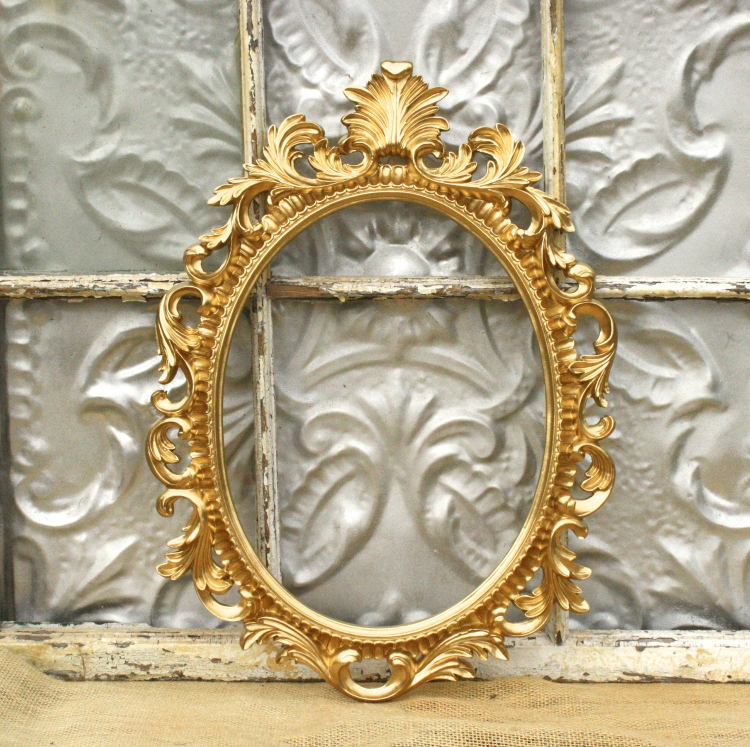 ornate oval baroque frame wedding photo by