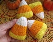 Set of 4 Crochet Candy Corn Stuffed Fall Autumn Halloween Decoration