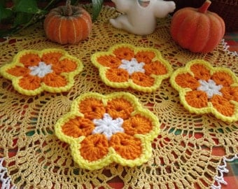 Crochet Coasters - Candy Corn - Fall - Autumn -  Halloween - Thanksgiving - Set of 4
