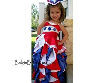 Pageant OOC baby Toddler RWB Patriotic 4 July  National Glitz  Evening formal Wear america wear talent wear Gown USA flag Custom  12m up 10