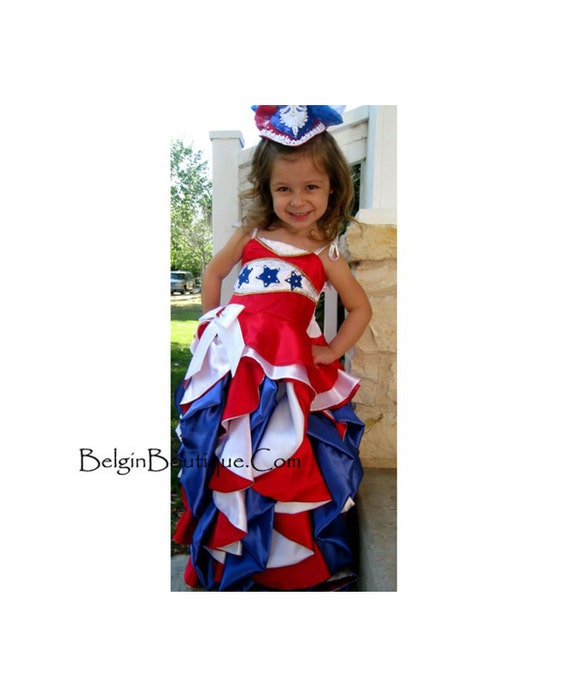 Pageant OOC baby Toddler RWB Patriotic 4 July  National Glitz  Evening formal Wear america wear talent wear Gown USA flag Custom  12m up 10
