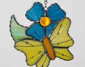Stained Glass Suncatcher - Yellow Butterfly and Teal Blue Flower, Garden Butterfly
