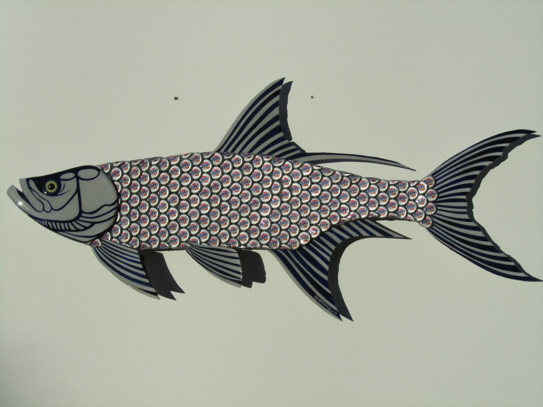 Metal Fish Wall Lights : Miller Light Tarpon Fish Large Metal Bottle Cap Fish Wall Art
