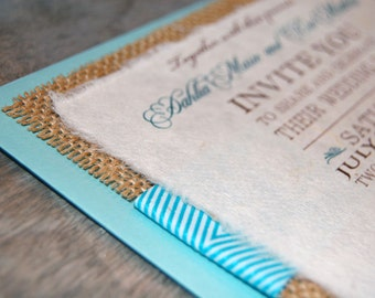 NEW- D-I-Y Blue Chevron Ribbon Rustic Burlap Wedding Invitation