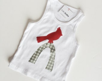 Cardinal Bird St. Louis Arch Tank Top for Girls, Infant, Toddler, White Tank Top