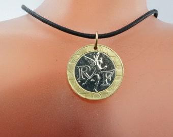 FRANCE NECKLACE - France coin necklace. coin charm. Paris. Liberate Egalite -franc -mens jewelry. mens necklace. mens pendant   No.00785