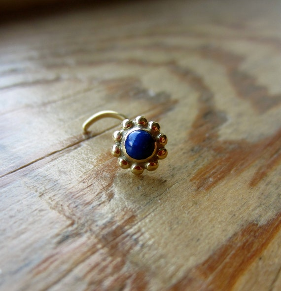 bloom gem gold nose ring lapis nose stud 3mm gemstone