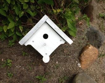 Cute Little Wood Birdhouse,Garden, Wood, White, Farm,Cottage, Garden,Rustic