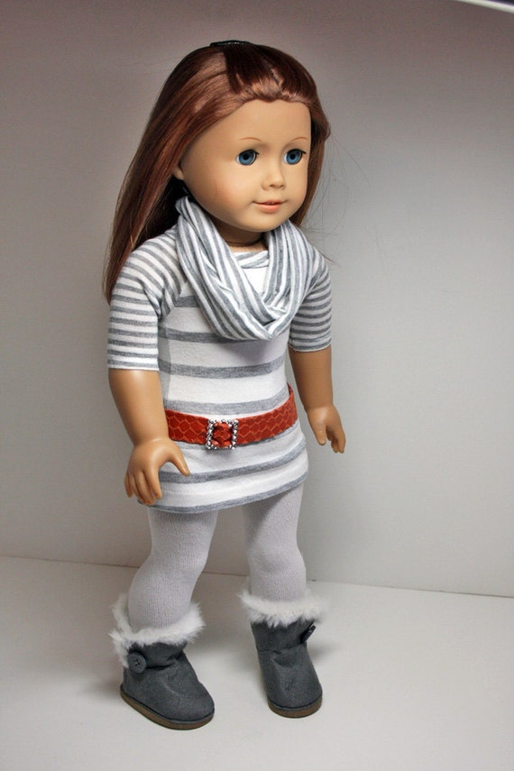American Girl Doll Clothes Tunic Dress Tights Infinity Scarf