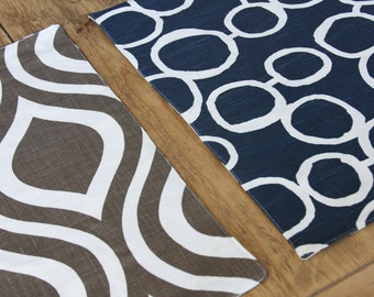 Reversible Placemats - Navy and Brown