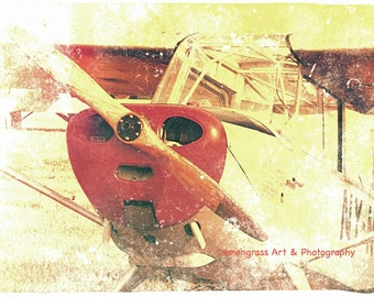Little Red Airplane, Aviation Photography, Fine Art Print, Airplanes Wall Art, Nose, Wooden Propeller, Planes, Nursery Decor