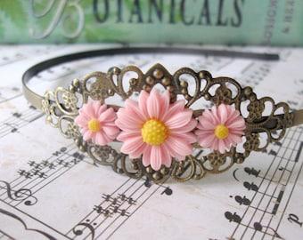 Pink daisy headband - Flower mum vintage style antique bronze filigree headband