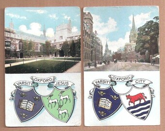 Two Heraldic Oxford University Varsity  Coat of Arms one Jesus College England vintage postcard English