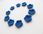 Crochet Flower Appliques, Tiny Small Cute Flowers, Decorative Motifs, Bright Blue, Set of 50, Set of 100, Set of 150, set of 200