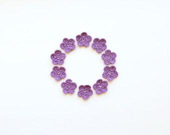 Crochet Flower Appliques, Lavender, Dreamy Purple, Set of 10, Party Decorations, Crochet Motifs, Handmade Supplies