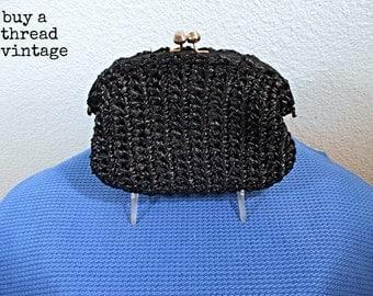 Vintage 60s Black Straw Italian Clutch Bag by Jana