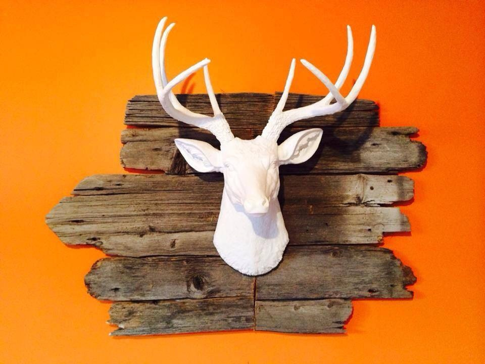 🔎zoom - Faux Taxidermy White Faux Deer Head Deer Head Antlers Fake