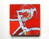 Indianapolis mounted print - Indianapolis, Bloomington Indiana bicycle art mounted to wood