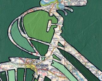 Bike Richmond - featuring Richmond, Highland Springs,  Virginia bicycle art print