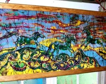Horses leap from the Sea  -  batik painting - original art
