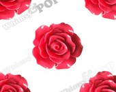 Large Detailed Rose Red Rose Deco Resin Cabochons, Flower Shaped, 20mm Rose Cabochons (R1-026)
