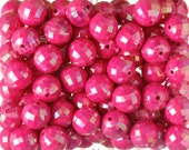 20mm - 10 PACK of Hot Pink AB Faceted 20mm Gumball Beads, Chunky Acrylic Beads, 20mm Beads, Disco Ball Beads, 2mm Hole (R7-142)