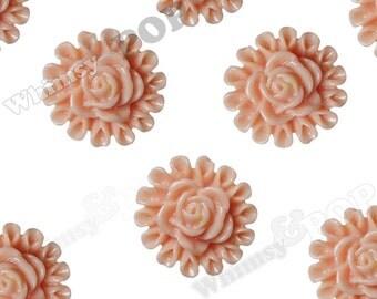 Coral Flower Cabochons, Flower Flatbacks, Flower Shaped, 13.5mm (R5-120)